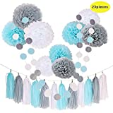 CHOTIKA 23pcs Tissue Flowers Pom Pom Poms Baby Blue White Grey Baby Boy Shower/Party Paper Decorations First Birthday Boy Tissue Flowers Tassel Garland Circle Paper Baby Shower Decorations Boy