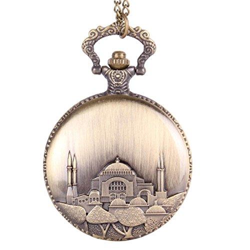 Antique Flip Open Pendant Necklace Building