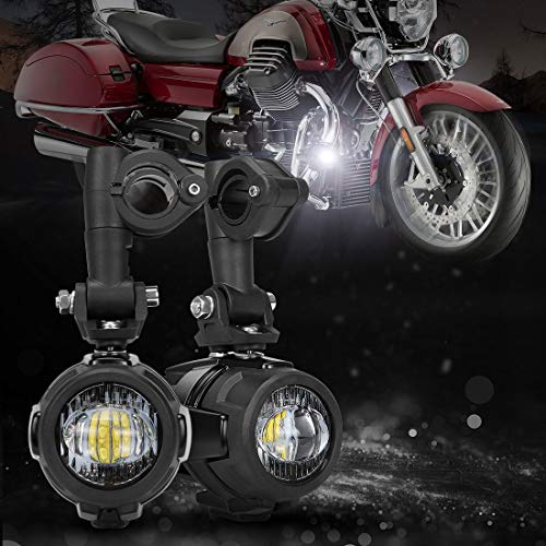 SUPAREE 2 Pcs 40W LED Auxiliary Lamp 6000K Super Bright Fog Driving Light Kits Led Lighting Bulbs DRL For Motorcycle BMW R1200GS F800GS K1600 KTM HONDA Harley Davidson (Lightx2) ()