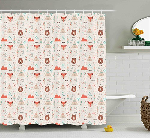 Ambesonne Tribal Shower Curtain, Cute Ethnic Primitive Fox Arrows Bear Lodge Houses Feather Graphic, Fabric Bathroom Decor Set with Hooks, 84 Inches Extra Long, White Salmon Amber Teal - Fabric Christmas Bear