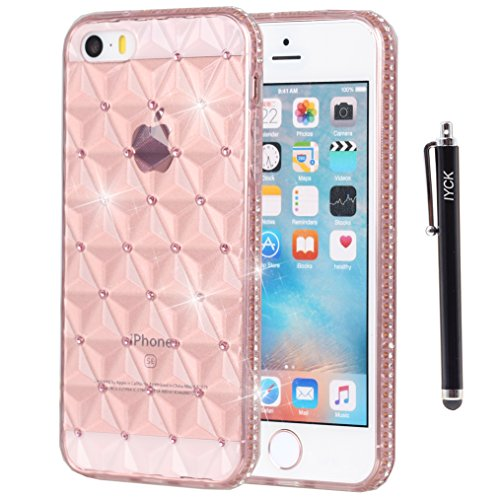 iPhone SE Case, iPhone 5S case, iYCK [3D Prism] Soft Flexible TPU Rubber Gel Crystal Clear [Studded Full Frame and Back] Diamond Bling Rhinestone Protective Shell Cover for iPhone 5/5S/SE - Rose Gold (Clear Rhinestone Iphone 5s Case)