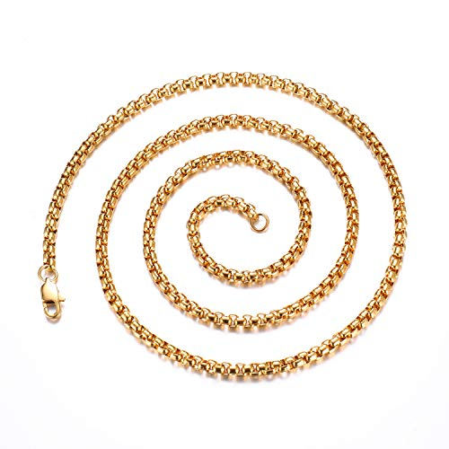FEEL STYLE 4mm Stainless Steel Rolo Necklace for Men Women 18K Gold Plated Box Cable Chain 20