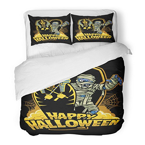 SanChic Duvet Cover Set Coffin Halloween Mummy Out from Sarcophagus Dracula Candy Decorative Bedding Set with 2 Pillow Cases Full/Queen Size