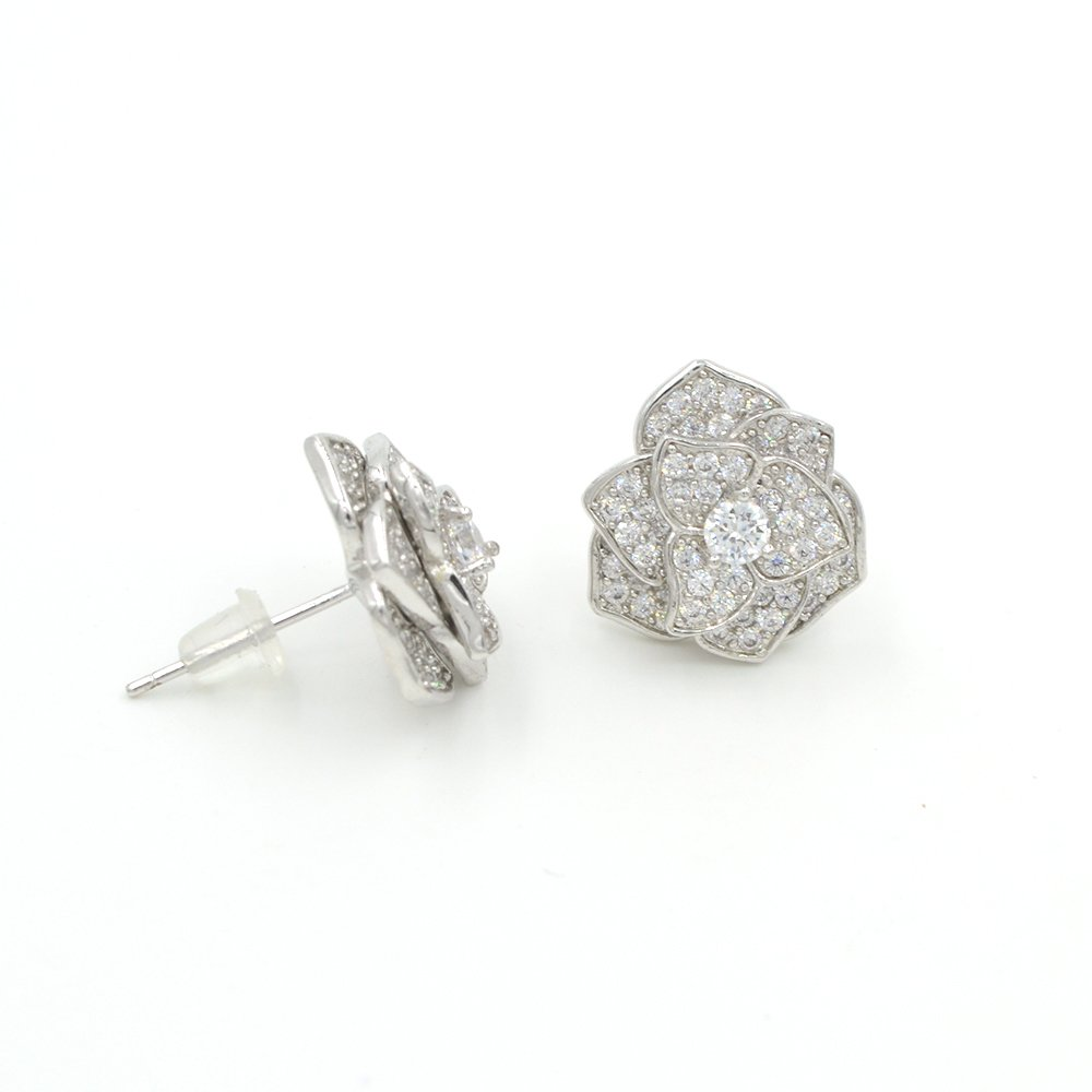 Espere Rose Bud Micropave Stud Earrings Silver