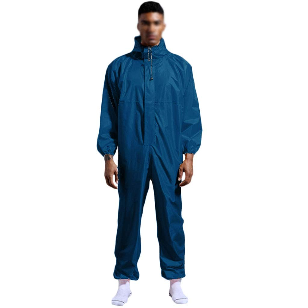 YYTL Paint Overalls, Tyvek Suit Large Dustproof Clothing, Protective Clothing, Suitable for Painting Laboratory, Light Weight, Suitable for Men (Color : Cyan, Size : XXXL) by YYTL