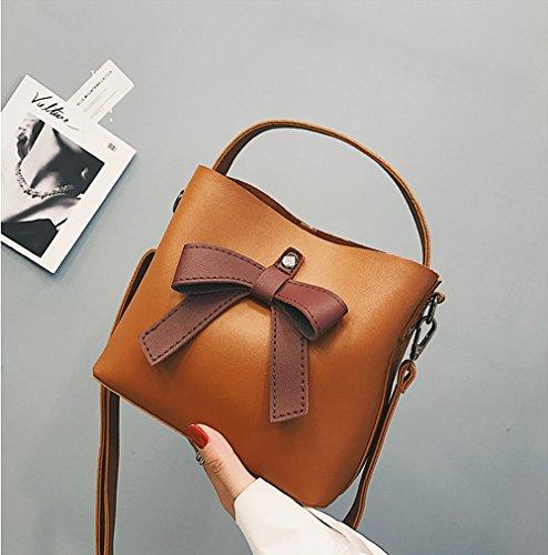 Handbag Messenger Leather YSMYWM Tote Bowknot Women PU Bags Fashion Bag Bag Crossbody Purse Brown Shoulder qUww4pZXxP