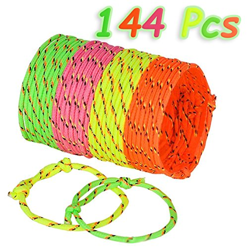 Neon Friendship Rope Bracelets, 4 Neon Colors, 144 Pcs, Adju