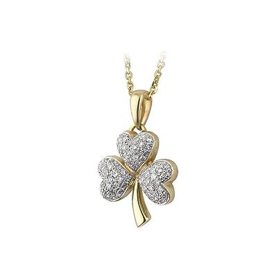 Amazon shamrock necklace 14k gold diamond irish made shamrock necklace 14k gold diamond irish made aloadofball Images