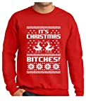 Ugly Christmas Sweater Style Sweatshirt It's Christmas Bitches Humping Reindeer X-Large Red