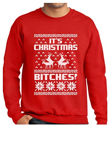 TeeStars - Its Christmas Bitches Ugly Sweater Humping Reindeer Funny Sweatshirt Medium Red