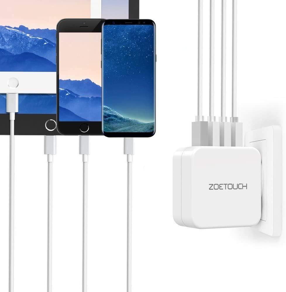 ZOETOUCH Enchufe Adaptador Internacional con 4 Puertos USB