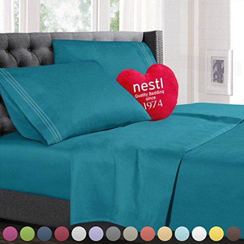 Bed Sheet Bedding Set, Queen Size, Teal, 100% Soft Brushed Microfiber Fabric with Deep Pocket Fitted Sheet, 1800 Luxury Bedding Collection, Hypoallergenic & Wrinkle Free Bedroom Linen Set By Nestl Bedding (Teal Bed Set Queen)