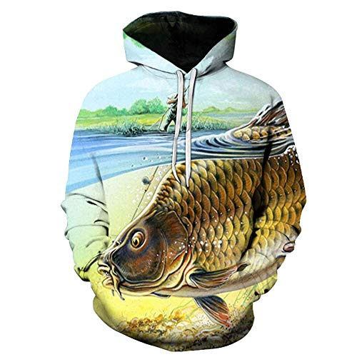 MEN.CLOTHING-LEE Hoodie HD 3D Digitaldruck Pullover Leichtes Sweatshirt Kangaroo Pocket Fishing Pattern