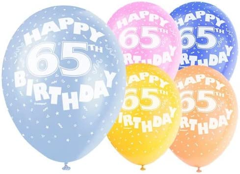 """5 x 65th Birthday Various Colours Mix 12/"""" Latex Balloons Party Age 80217"""