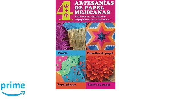 4 artesanias de papel mejicanas: Inspirado por decoraciones de papel mejicanas artesanales: pinata, estrella de papel, papel picado y flores de papel: ...