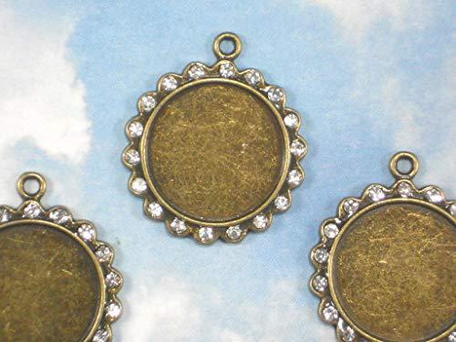 Bulk 20 Rhinestone Scallop Round Bezel Settings Bronze Tone Pendants