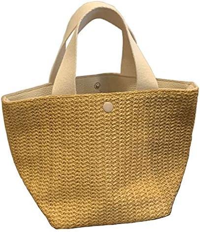 QFWN New Kapazität Stroh-Beutel-Frauen-handgemachte gesponnene Korb Tote Sommer-Strand-Taschen Luxuxmarken Leinwand Dame Handbags (Color : 1) Blue
