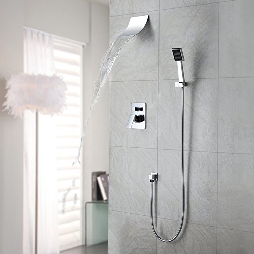 JiaYouJia Thermostatic LED Ceil Mount 16-Inch Shower with 6 Body Sprays Chrome Finish (Waterfall Style)