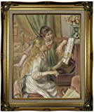 Historic Art Gallery Young Girls At the Piano 1892 by Pierre-Auguste Renoir Framed Canvas Print, 16'' x 20'', Ornate Gold Lined