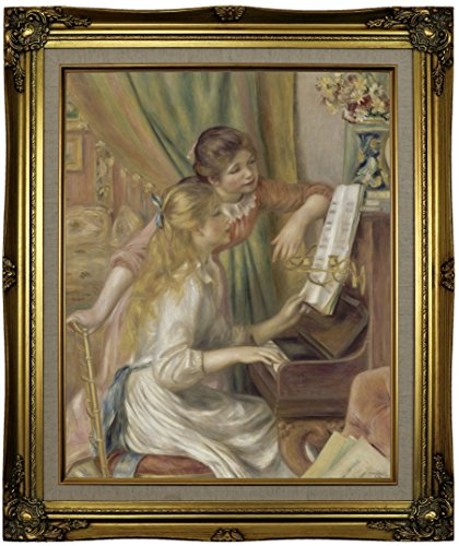 Historic Art Gallery Young Girls At the Piano 1892 by Pierre-Auguste Renoir Framed Canvas Print, 16
