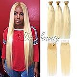 """Dorabeauty # 613 Blonde Hair 4 × 4 Lace closure con 3 Bundles Platinum Blonde 100% Brazilian Remy Human Hair (ST 18 """"Closure +22"""" 24 """"26"""" Bundles, Straight Blonde)"""