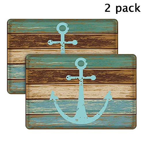 Uphome Nautical Anchor Bathroom Rug, Vintage Retro Flannel Microfiber Turquoise and Brown Non-Slip Soft Absorbent Bath Rug Kitchen Floor Mat Carpet (2 Pieces, 16