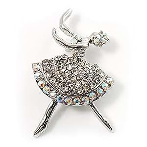 Broche Bailarina con cristales claros