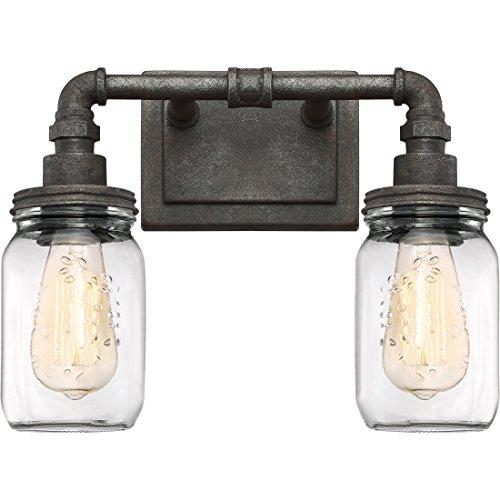 Quoizel SQR8602RK Squire Industrial Rustic Vanity Wall Lighting, 2-Light, 200 Watts, Rustic Black (11