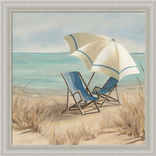 Summer Vacation II by Carol Robinson Adirondack Chair Beach Scene Art Print Framed Picture - Cape Cottage