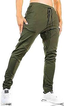 EKLENTSON - Pantalones de chándal para hombre, ajustados, de algodón, para correr, cómodos, para caminar, Hombre, Verde militar (tobillo con cremallera)., 38: Amazon.es: Ropa y accesorios