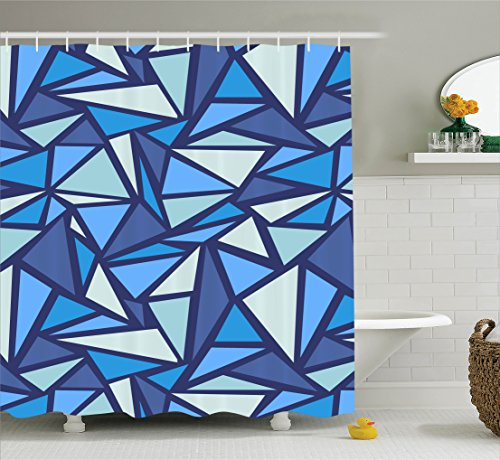 Ambesonne Geometric Decor Collection, Abstract Ice Crystal Pattern Frost Cold Triangle Sharp Edges Monochromatic Art, Polyester Fabric Bathroom Shower Curtain Set with Hooks, Navy (Ice Crystal Collection)