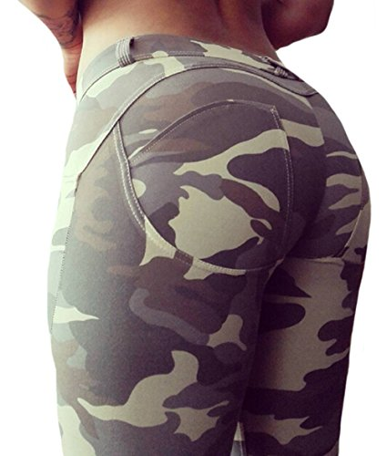 Clothdigger Sexy Peach Shape Camouflage Print Yoga Pants Butt Lift Skinny Pants Slim Breathable Sports (Sexy Peach)