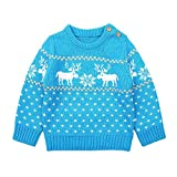 Outtop(TM) Christmas Baby Long Sleeve Toddler Newborn Girls Boys Cartoon Knitted Tops Sweater Clothes (12M (6~12months), Blue)