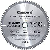 Concord Blades WCB0725T080HP 7-1/4-Inch 80 Teeth TCT General Purpose Hard & Soft Wood Saw Blade