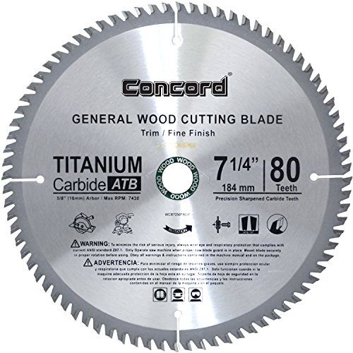 - Concord Blades WCB0725T080HP 7-1/4-Inch 80 Teeth TCT General Purpose Hard & Soft Wood Saw Blade