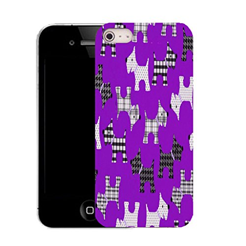 Mobile Case Mate IPhone 4 clip on Silicone Coque couverture case cover Pare-chocs + STYLET - purple scotty dog pattern (SILICON)