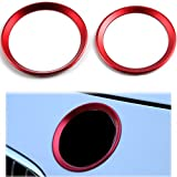 Eaglerich 2 Pcs/set Car Circle Ring Covers Logo Chrome Trim Chromium Styling Accessories for BMW 3 Series 4 Series M3 M44 RED