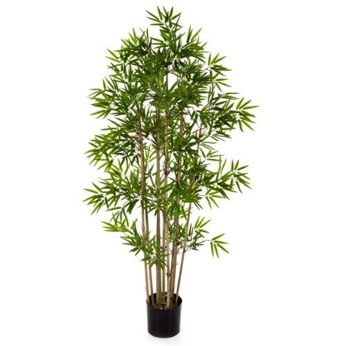 Bambú artificial con pequeñas hojas