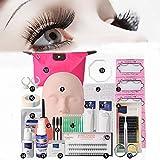 Vinmax Pro Eyelashes Extension Kit &Grafting Eyelash Tools Set&Full Mannequin Training Makeup False Eyelashes Extension Glue Tool Practice Kit Makeup For Beginner False Eyelash Extension Tools Set