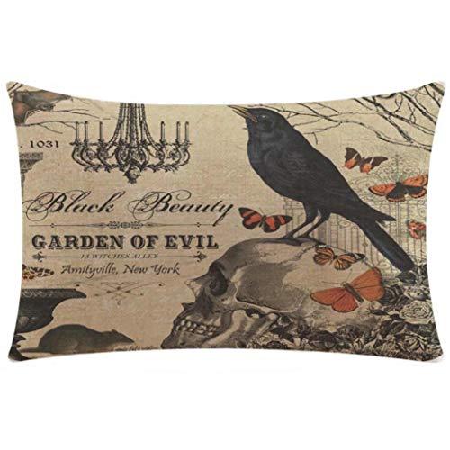 Fxbar GARDEN OF EVIL Throw Pillow Case, Crow On Skull Pattern Cushion Cover Happy Halloween Series Sofa Waist Pillow Shams (Rectangle)]()