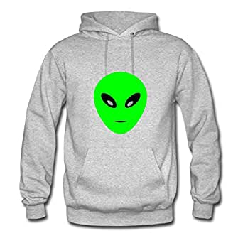 Women Hoody Casual Alien Image X-large With Organic Cotton Grey