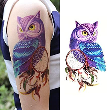 Oottati Tatuajes Temporales Muslo Brazo India Búho Púrpura Anotado ...