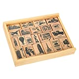 21-Piece World Stamp Set- Landmarks Around The World Travel Stamps - Wood Mounted Rubber Stamps for Card Making, DIY Crafts, Scrapbooking