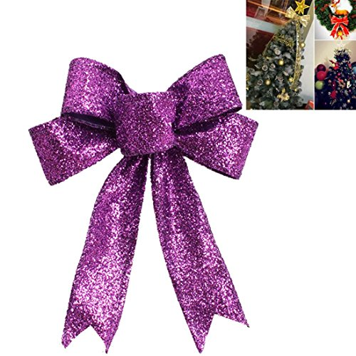 Christmas decorations,IEason Halloween Or Christmas Tree Ornament Christmas Ornament Bowknot Festival Supplie (Purple)