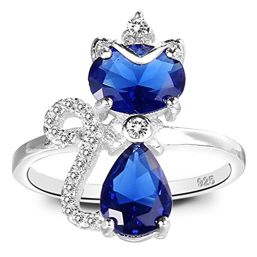 EleQueen 925 Sterling Silver Full Cubic Zirconia Princess Crown Cute Cat Adjustable Cocktail Ring Sapphire (Rhinestone Crown Adjustable Ring)