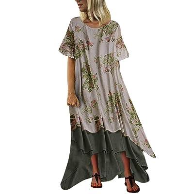 Long Summer Dresses for Women, Vintage Dot Print Maxi Dress Bohemian Plus Size Dress Short Sleeve Boho Dresses at Women's Clothing store