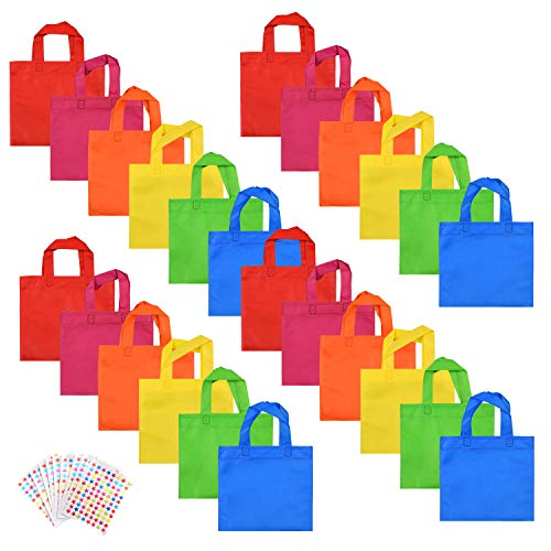Party Favors Bags Non-Woven Treat Bags with Handles WXJ13 Brand Rainbow Color Party Gift Tote Bags with 10 Pieces Star Stickers, 8 by 8 Inches, 24 Pieces -
