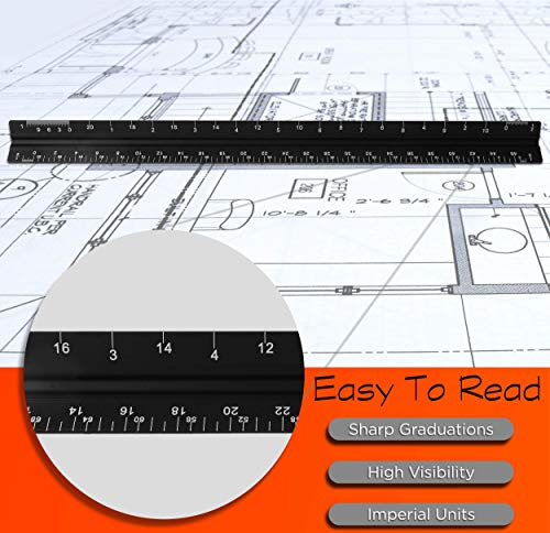 Architectural Scale Ruler Set, MEYUEWAL 12 Inch Triangular Engineering Scale Laser-Etched Aluminum Drafting Rulers Professional Measuring Tools for Architect (Imperial)