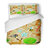 Emvency 3 Piece Duvet Cover Set Brushed Microfiber Fabric Sausage Cute with Dogs Animal Ball Bee Bird Bone Butterfly Canine Breathable Bedding Set with 2 Pillow Covers King Size