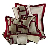 Ashley Furniture Signature Design - Aiza Comforter Set - Queen - Contains 9 Pieces - Includes Decorative Pillows, Duvet Cover & Bed Skirt - Wine